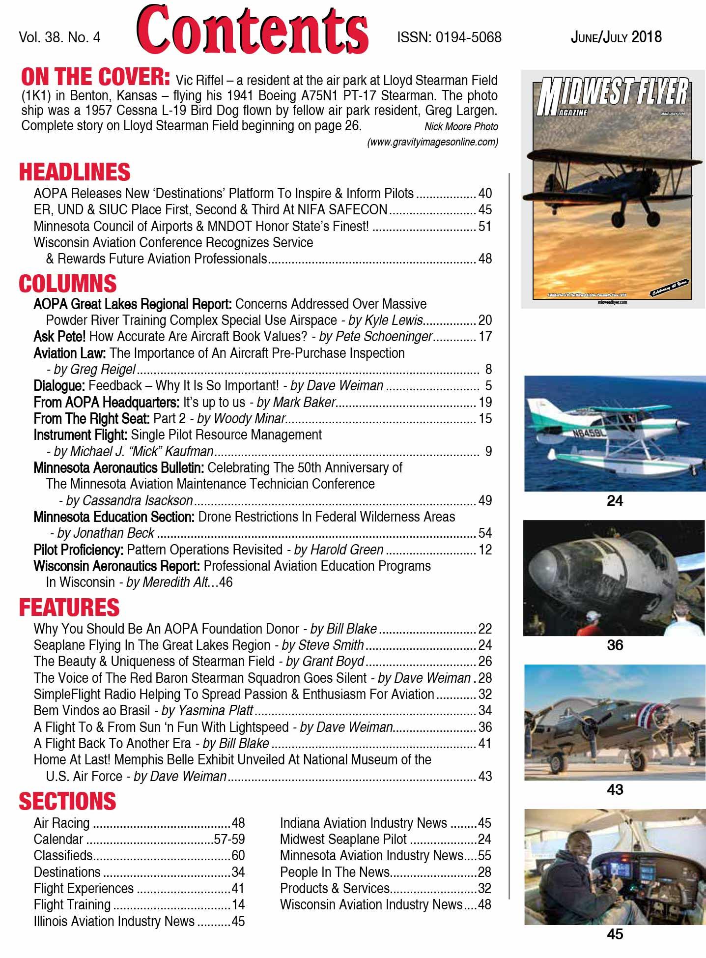 Midwest Flyer Magazine Contents - Jun/Jul