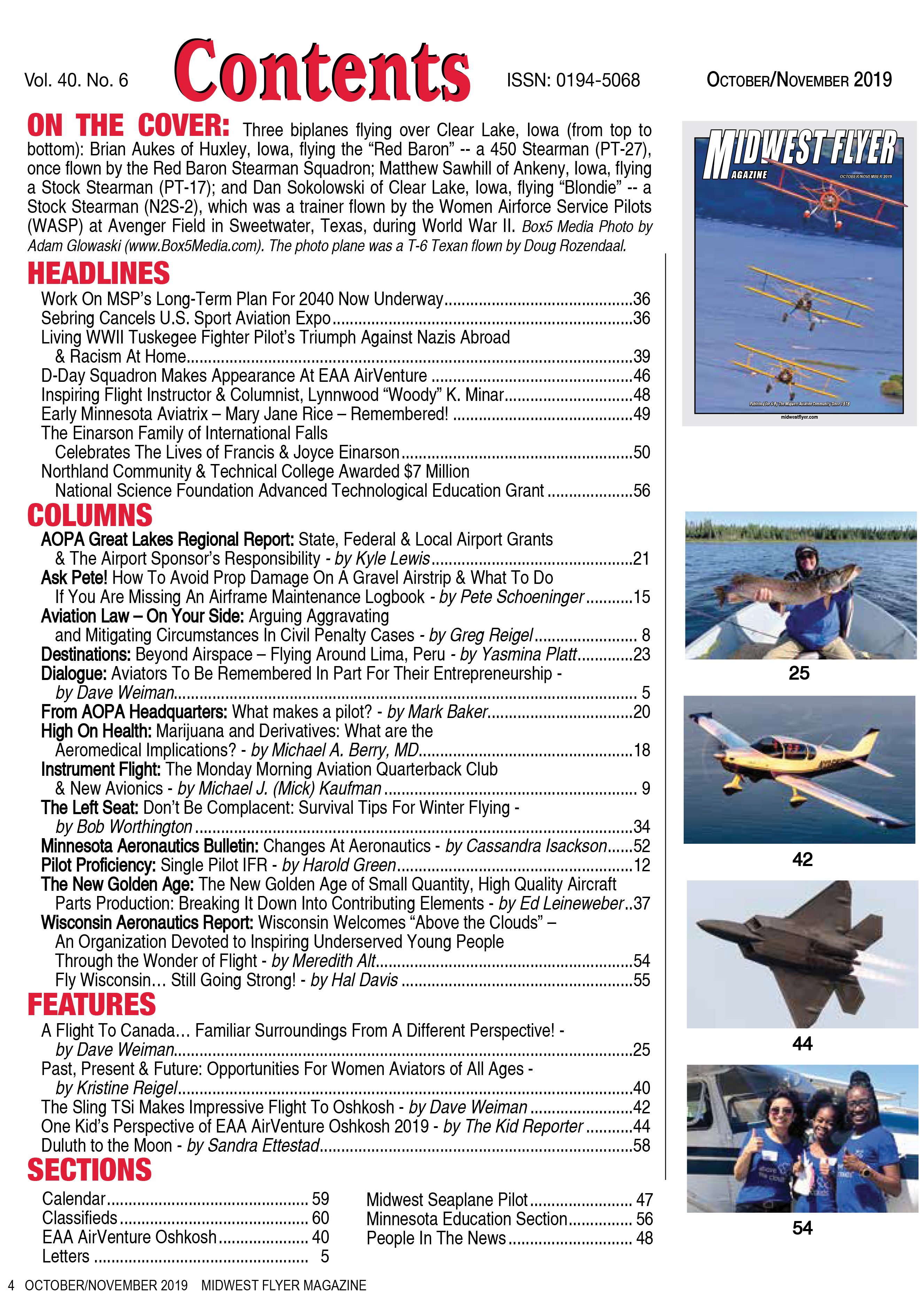 Midwest Flyer Magazine Contents - Oct/Nob