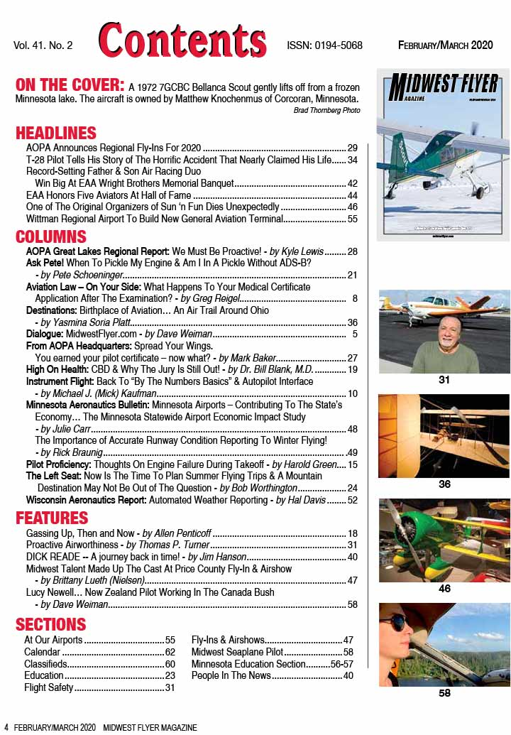 Midwest Flyer Magazine Contents - Feb/Mar