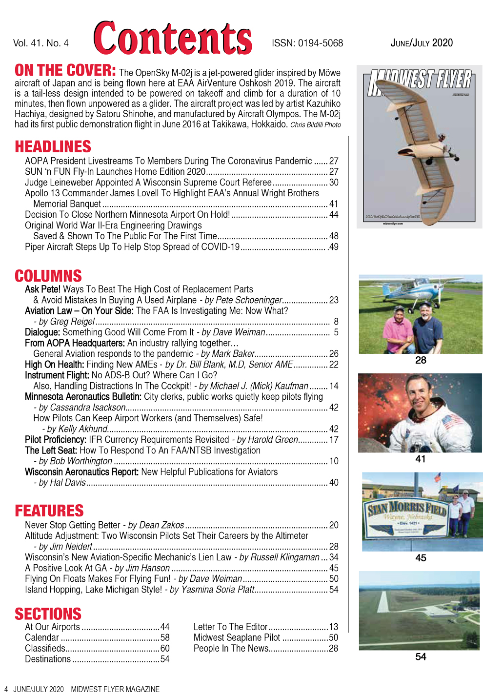 Midwest Flyer Magazine Contents - June/July