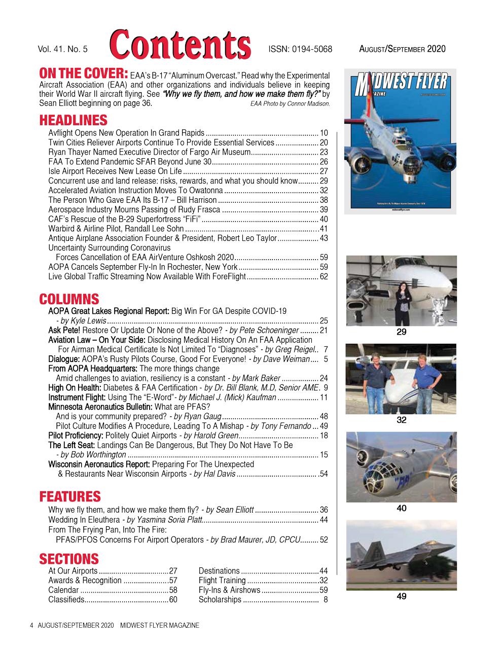 Midwest Flyer Magazine Contents - Aug/Sept